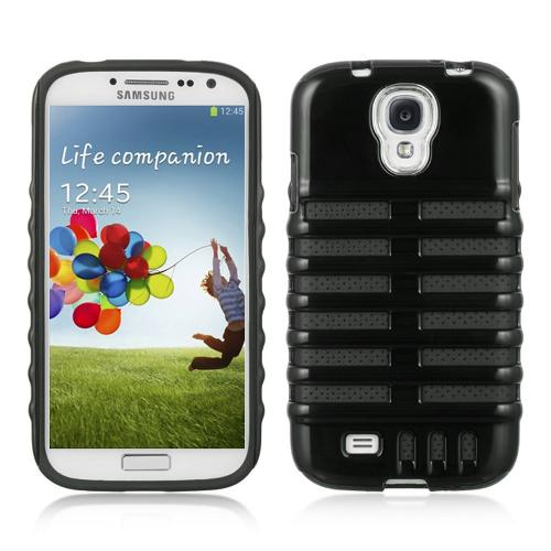 Black Skeleton Hard Cover on Black Silicone for Samsung Galaxy S4