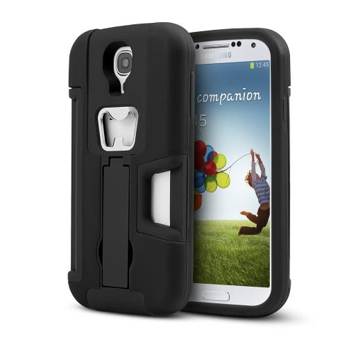 Black Silicone Skin Over Hard Case w/ Bottle Opener, ID Holder & Stand for Samsung Galaxy S4