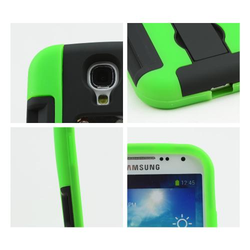 Lime Green/ Black Silicone Skin Over Hard Case w/ Bottle Opener, ID Holder & Stand for Samsung Galaxy S4