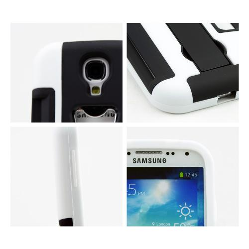 White/ Black Silicone Skin Over Hard Case w/ Bottle Opener, ID Holder & Stand for Samsung Galaxy S4