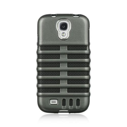 Gray Skeleton Hard Cover on Black Silicone for Samsung Galaxy S4