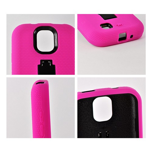 Hot Pink Silicone Over Black Hard Case w/ Kickstand for Samsung Galaxy S4