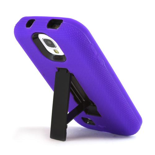 Purple Silicone Over Black Hard Case w/ Kickstand for Samsung Galaxy S4