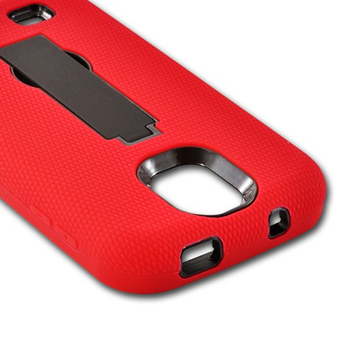 Red Silicone Over Black Hard Case w/ Kickstand for Samsung Galaxy S4