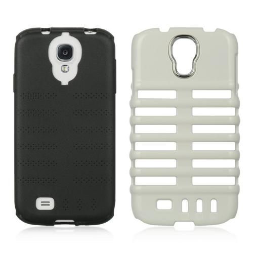 White Skeleton Hard Cover on Black Silicone for Samsung Galaxy S4
