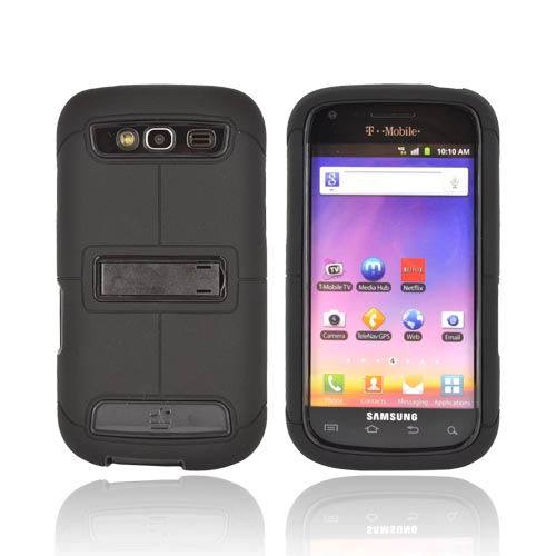 Samsung Galaxy S Blaze 4G Duo Shield Silicone Over Hard Case w/ Screen Protector & Kickstand - Black