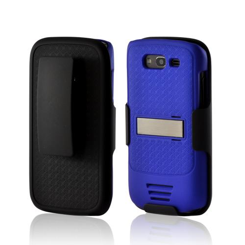 Samsung Galaxy S Blaze 4G Duo Shield Silicone Over Hard Case w/ Screen Protector & Kickstand - Black/ Blue