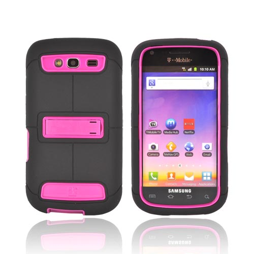 Samsung Galaxy S Blaze 4G Duo Shield Silicone Over Hard Case w/ Screen Protector & Kickstand - Black/ Hot Pink