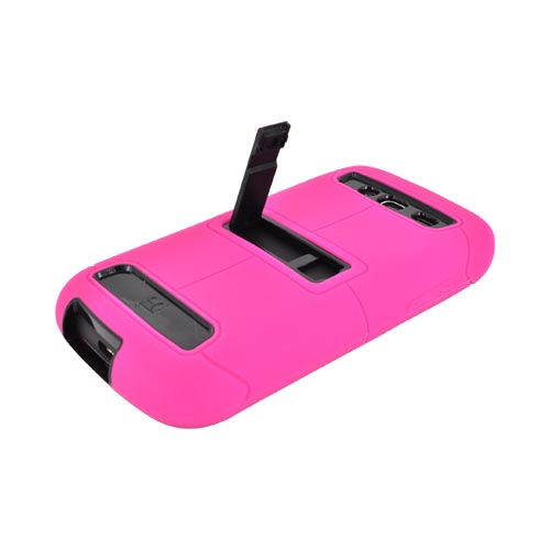 Samsung Galaxy S Blaze 4G Duo Shield Silicone Over Hard Case w/ Screen Protector & Kickstand - Hot Pink/ Black