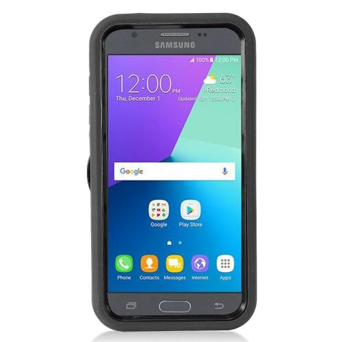 Samsung Galaxy J3 Emerge Case, Supreme Protection Silicone Case on Hard Case Dual Layer Hybrid Case w/ Kickstand [Black] with Travel Wallet Phone Stand