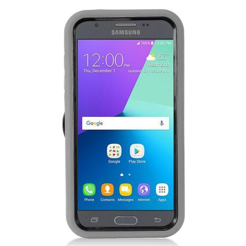 Samsung Galaxy J3 Emerge Case, Supreme Protection Silicone Case on Hard Case Dual Layer Hybrid Case w/ Kickstand [Gray/ Black]