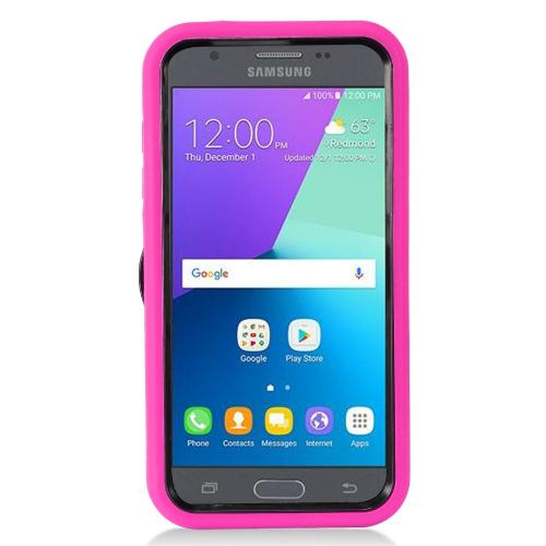 Samsung Galaxy J3 Emerge Case, Supreme Protection Silicone Case on Hard Case Dual Layer Hybrid Case w/ Kickstand [Hot Pink/ Black]