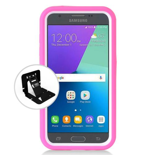 Samsung Galaxy J3 Emerge Case, Supreme Protection Silicone Case on Hard Case Dual Layer Hybrid Case w/ Kickstand [Hot Pink/ White] with Travel Wallet Phone Stand