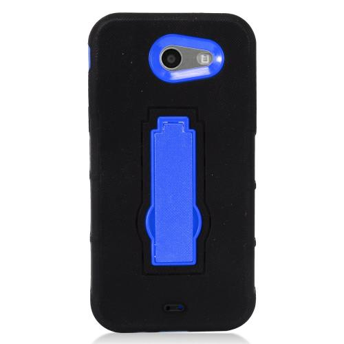 Samsung Galaxy J3 Emerge Case, Supreme Protection Silicone Skin Case on Hard Case Dual Layer Hybrid Case w/ Kickstand [Black/ Blue]