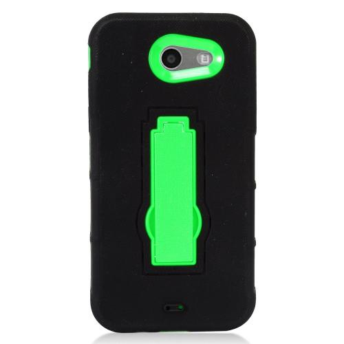 Samsung Galaxy J3 Emerge Case, Supreme Protection Silicone Skin Case on Hard Case Dual Layer Hybrid Case w/ Kickstand [Black/ Neon Green]