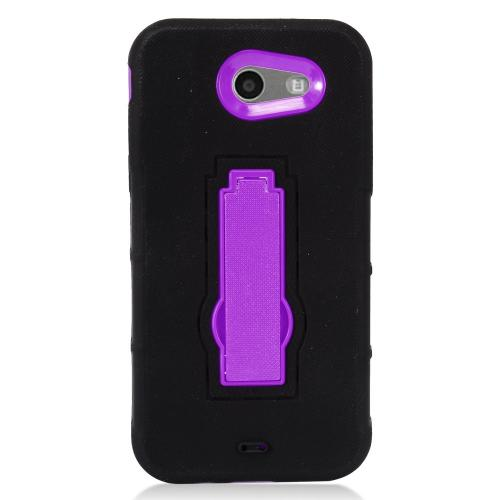 Samsung Galaxy J3 Emerge Case, Supreme Protection Silicone Skin Case on Hard Case Dual Layer Hybrid Case w/ Kickstand [Black/ Purple] with Travel Wallet Phone Stand