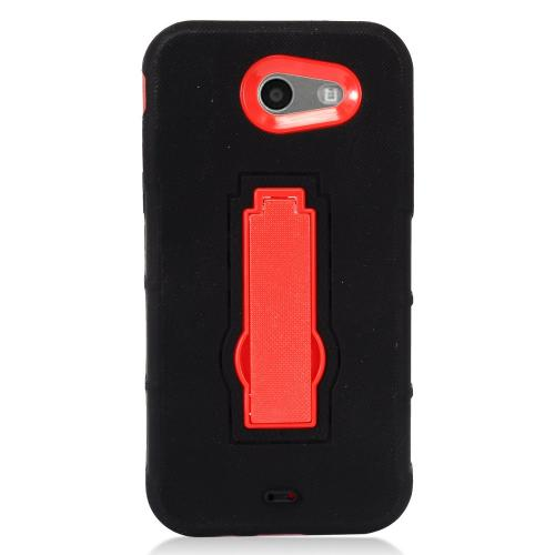 Samsung Galaxy J3 Emerge Case, Supreme Protection Silicone Skin Case on Hard Case Dual Layer Hybrid Case w/ Kickstand [Black/ Red]