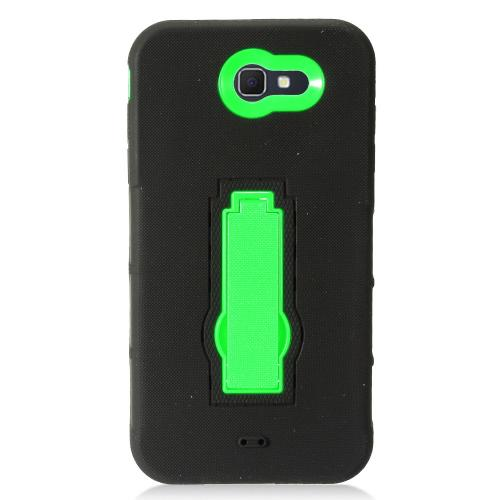 Samsung Galaxy J7 [2017]/ Galaxy J7 Perx Case, Supreme Protection Silicone Skin Case on Hard Case Dual Layer Hybrid Case w/ Kickstand [Black/ Neon Green] with Travel Wallet Phone Stand