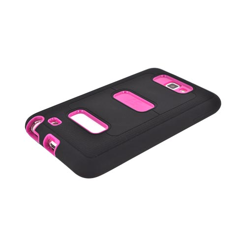 Samsung Galaxy Note Silicone Over Hard Case w/ Screen Protector - Black/ Hot Pink