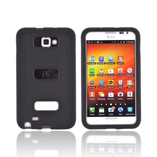 Samsung Galaxy Note Silicone Over Hard Case w/ Screen Protector - Black