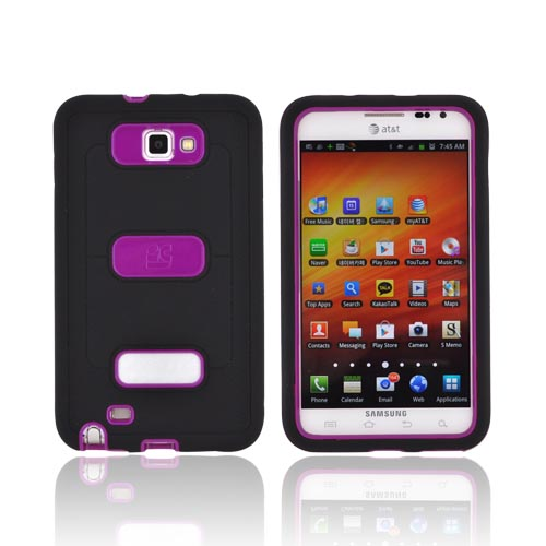 Samsung Galaxy Note Silicone Over Hard Case w/ Screen Protector - Black/ Magenta