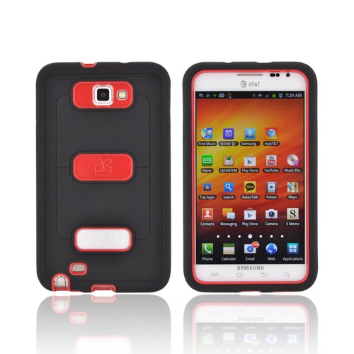 Samsung Galaxy Note Silicone Over Hard Case w/ Screen Protector - Black/ Red