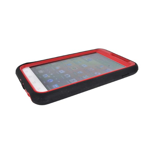 Samsung Galaxy Note Silicone Over Hard Case w/ Stand - Black/ Red