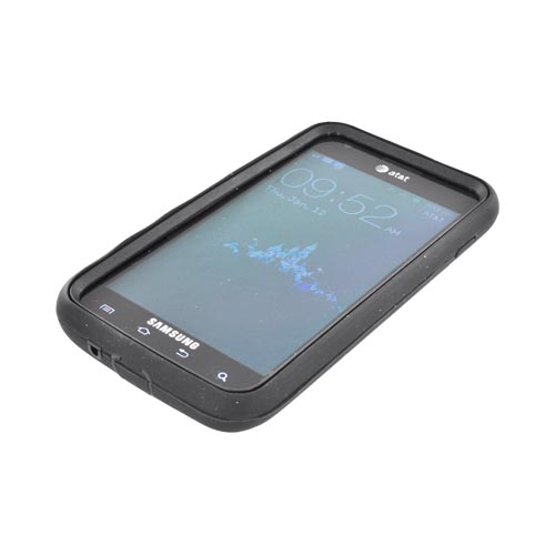 Samsung Galaxy S2 Skyrocket Silicone Over Hard Case - Black