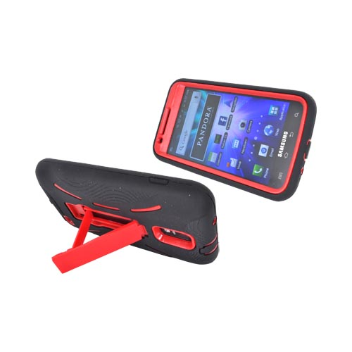 Samsung Galaxy S2 Skyrocket Silicone Over Hard Case w/ Stand - Black/ Red
