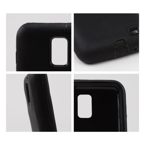 Black Silicone on Black Hard Case for Samsung Galaxy S2 Skyrocket