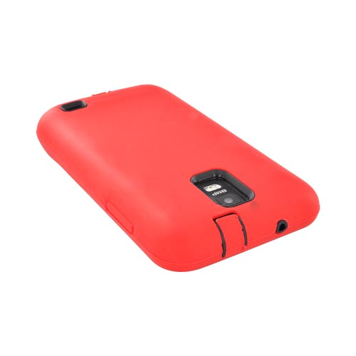 Samsung Galaxy S2 Skyrocket Silicone Over Hard Case - Red/ Black