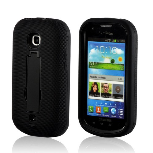 Black Silicone Over Hard Case w/ Kickstand for Samsung Galaxy Stellar