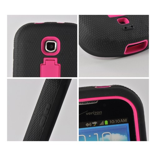 Hot Pink/ Black Silicone Over Hard Case w/ Kickstand for Samsung Galaxy Stellar