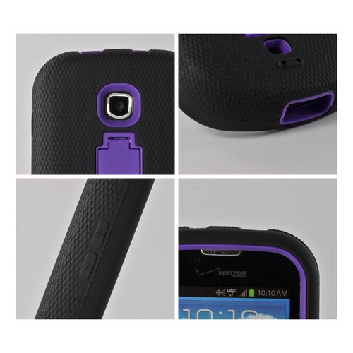 Purple/ Black Silicone Over Hard Case w/ Kickstand for Samsung Galaxy Stellar
