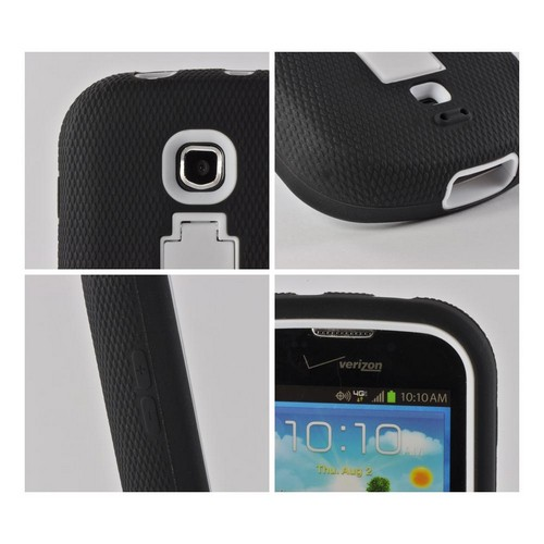 White/ Black Silicone Over Hard Case w/ Kickstand for Samsung Galaxy Stellar