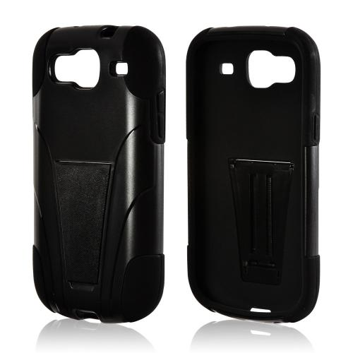 Black Hard Case Over Black Silicone w/ Stand for Samsung Stratosphere 3