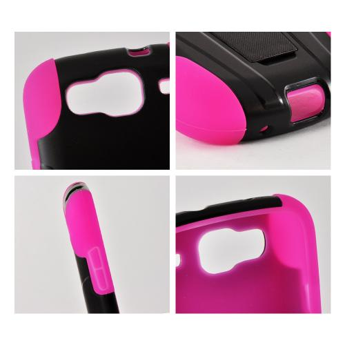 Black Hard Case Over Hot Pink Silicone w/ Stand for Samsung Stratosphere 3