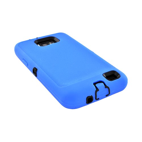 AT&T Samsung Galaxy S2 Silicone Over Hard Case - Blue/ Black