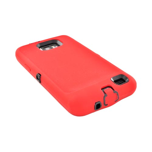 AT&T Samsung Galaxy S2 Silicone Over Hard Case - Red/ Black