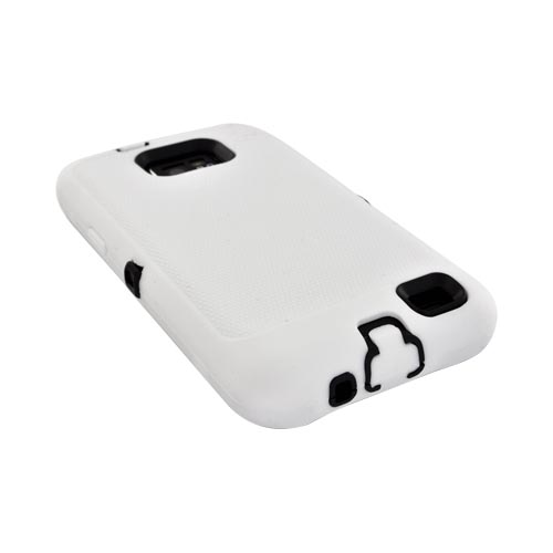 AT&T Samsung Galaxy S2 Silicone Over Hard Case - Solid White/ Black