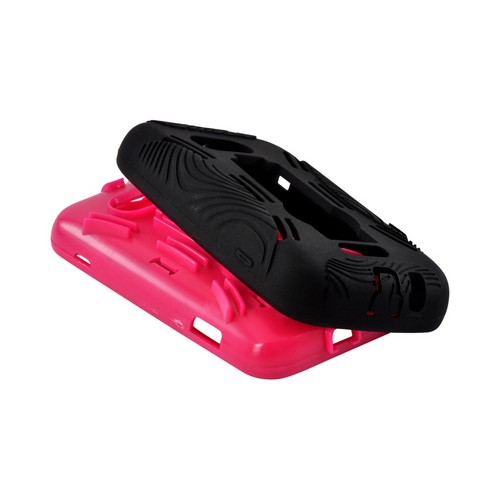 Hot Pink on Black Silicone Over Hard Case w/ Stand for Samsung Galaxy Victory 4G LTE