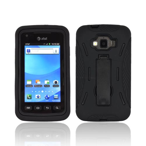 Samsung Rugby Smart i847 Silicone Over Hard Case w/ Stand - Black