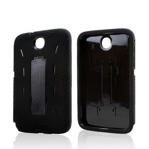 Black Silicone on Black Hard Case w/ Kickstand for Samsung Galaxy Note 8.0