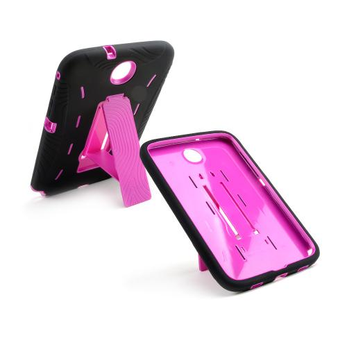 Black Silicone on Hot Pink Hard Case w/ Kickstand for Samsung Galaxy Note 8.0