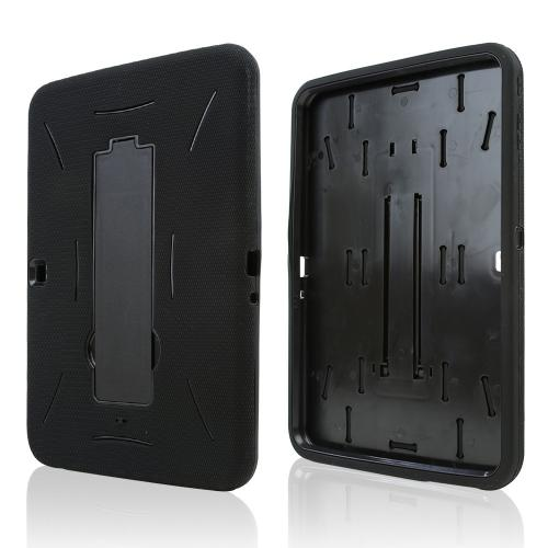 Black Silicone Over Black Hard Case w/ Kickstand for Samsung Galaxy Tab 3 10.1