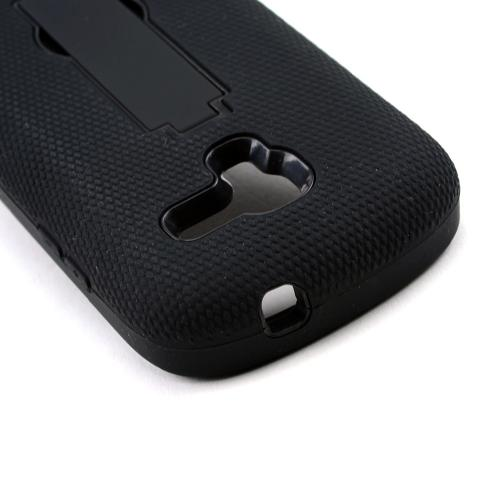 Black Silicone on Black Hard Shell w/ Kickstand for Samsung Galaxy Exhibit