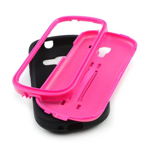 Black Silicone on Hot Pink Hard Shell w/ Kickstand for Samsung Galaxy Exhibit