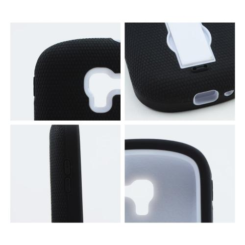 Black Silicone on White Hard Shell w/ Kickstand for Samsung Galaxy Exhibit