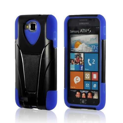 Black Hard Cover on Blue Silicone Hybrid Case w/ Kickstand for Samsung ATIV S