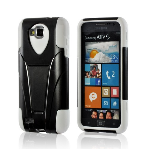 Black Hard Cover on White Silicone Hybrid Case w/ Kickstand for Samsung ATIV S